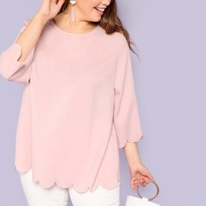 Pink Office Lady Plus Size Blouse